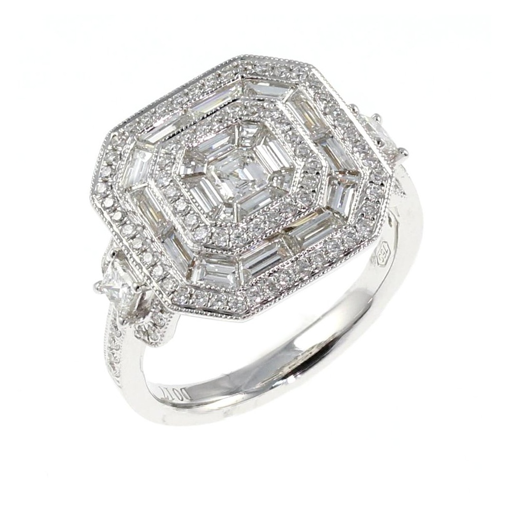 18ct white gold large square art deco style diamond ring diamond clusters from mr. Black Bedroom Furniture Sets. Home Design Ideas