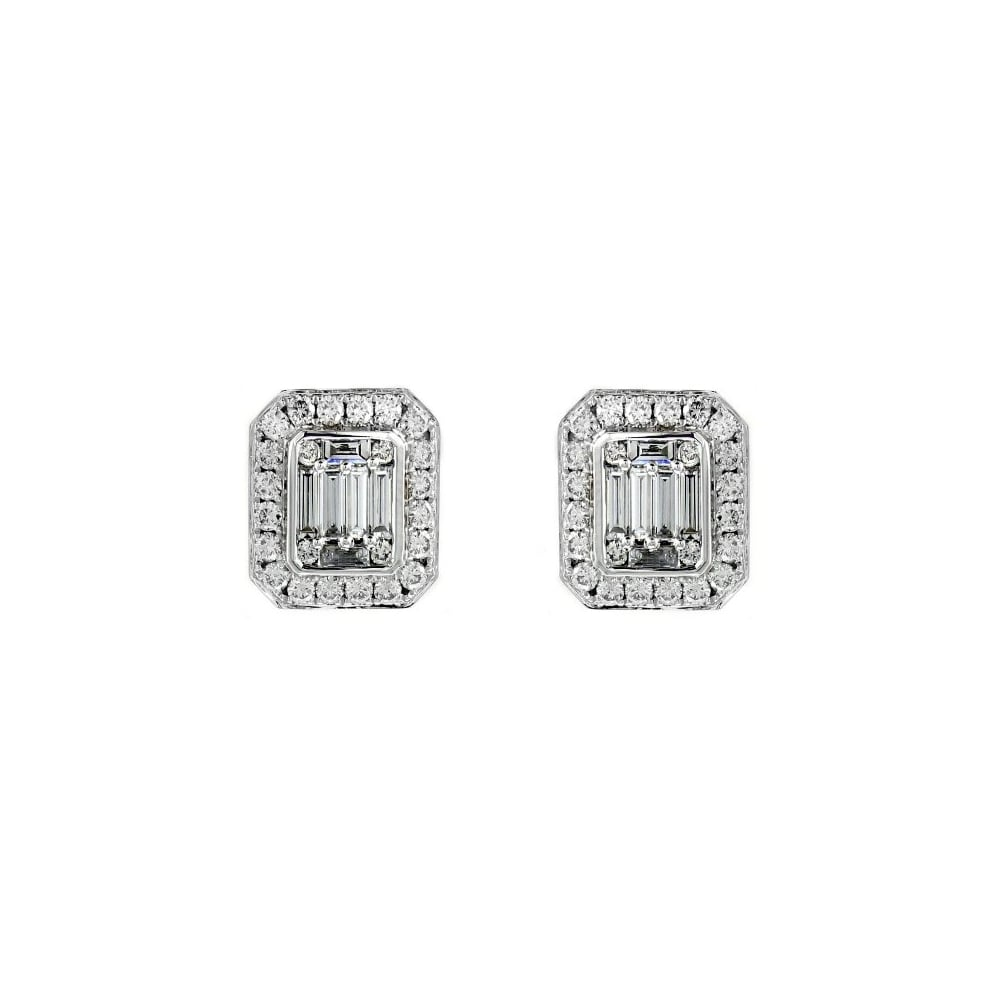 18ct White Gold 1 65ct Art Deco Style Diamond Cluster Earrings Jewellery From Mr Harold And Son Uk