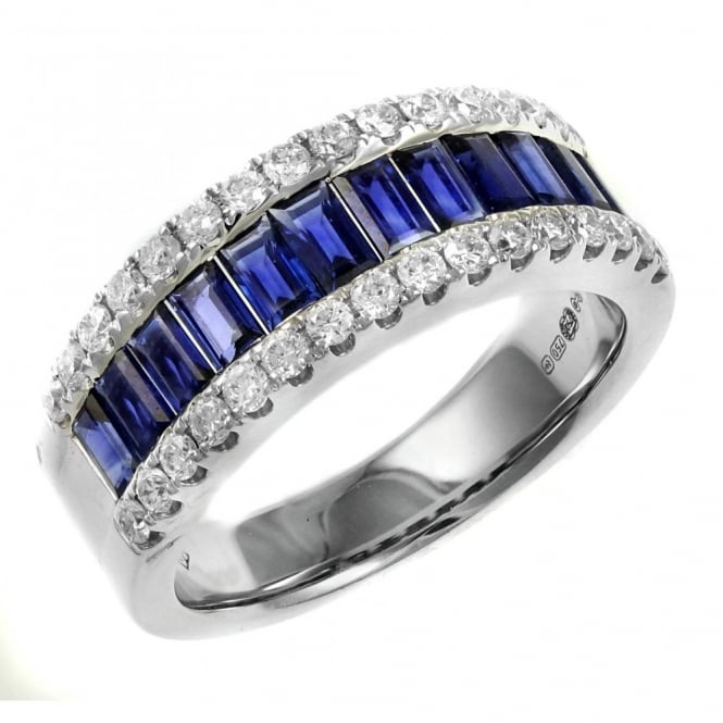 18ct white gold 1.65ct sapphire & 0.52ct diamond eternity ring.