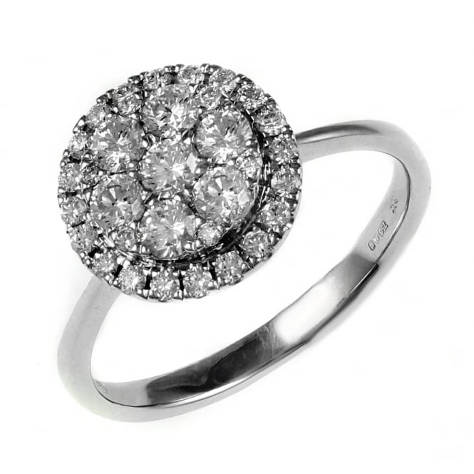 18ct white gold 1.78ct inivisible circular diamond cluster ring.