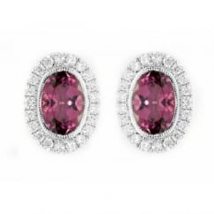 18ct white gold 1.84ct rubellite & 0.30ct diamond stud earrings