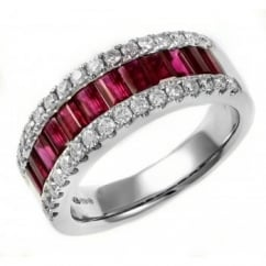 18ct white gold 1.90ct ruby & 0.51ct diamond half eternity ring.