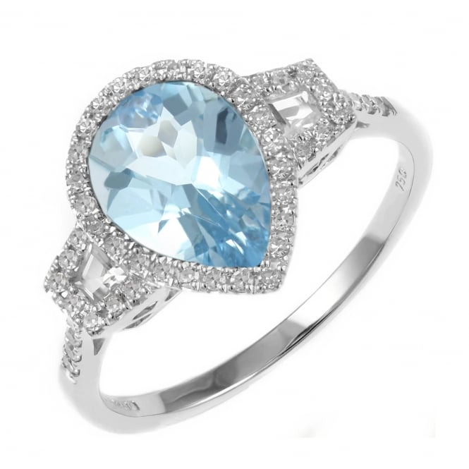 18ct white gold 1.95ct Swiss blue topaz & diamond ring.