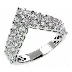 18ct white gold 1.99ct diamond double row wishbone ring.