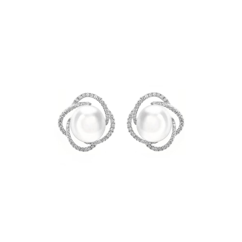 18ct White Gold 11mm South Sea Pearl 0 76ct Diamond Earrings