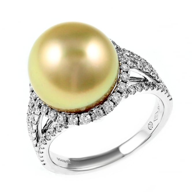 18ct white gold 12mm golden pearl & 0.86ct diamond cluster ring