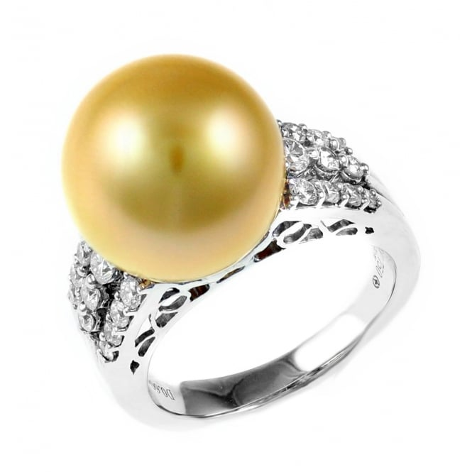18ct white gold 13mm golden pearl & 0.60ct diamond cluster ring
