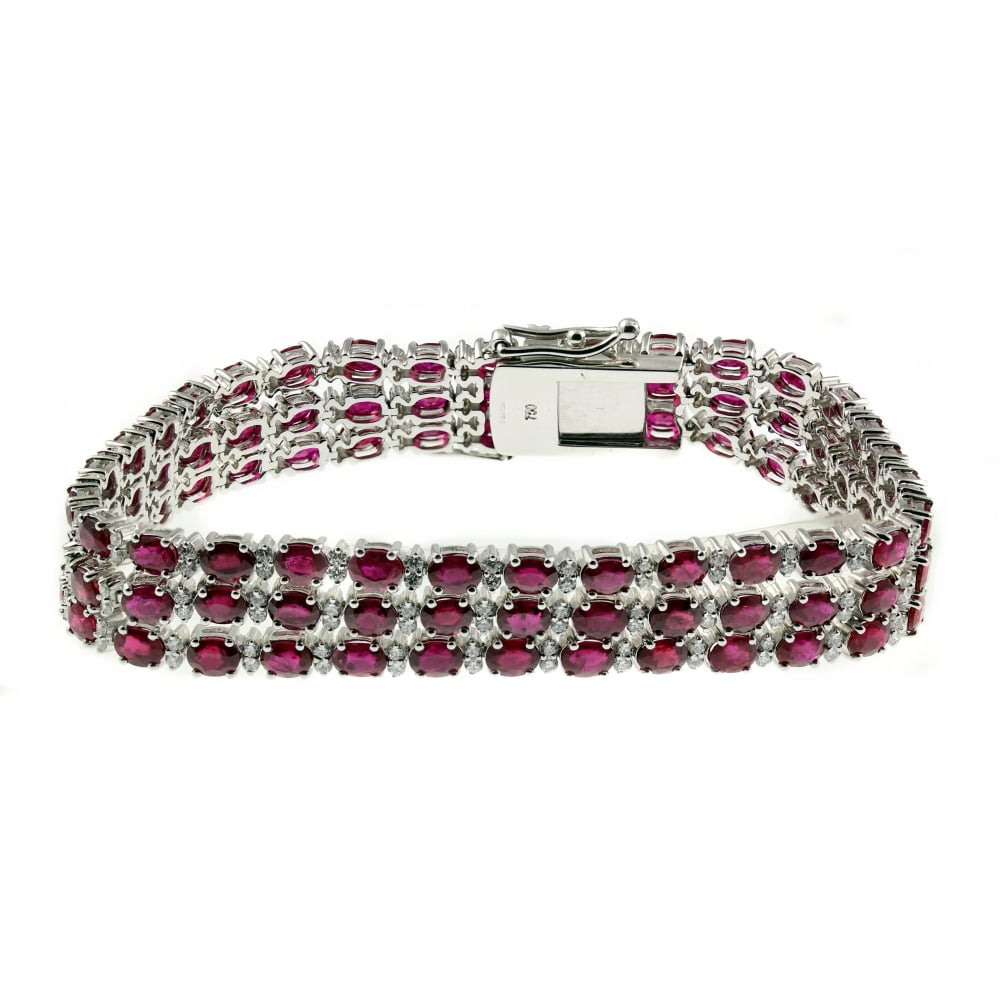 18ct White Gold 19 50ct Ruby 2 02ct Diamond 3 Row Bracelet