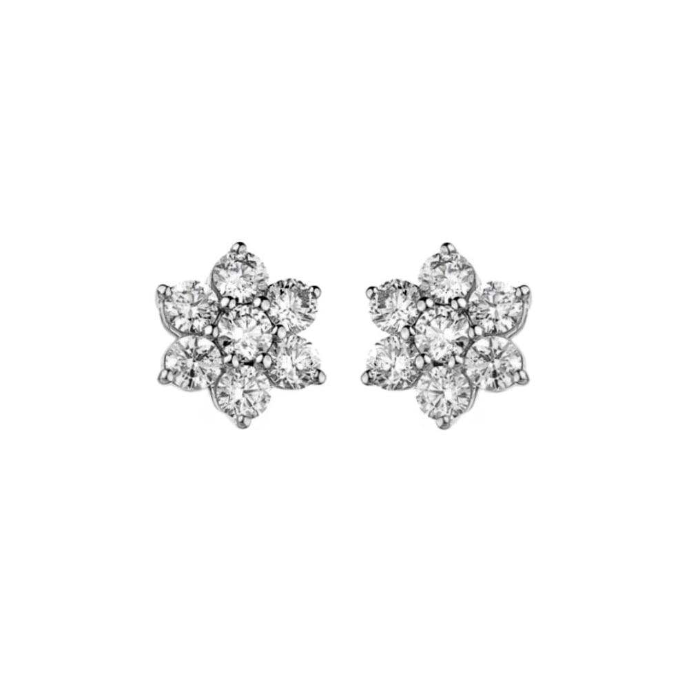 18ct White Gold 2 00ct Flower Cer Diamond Earrings