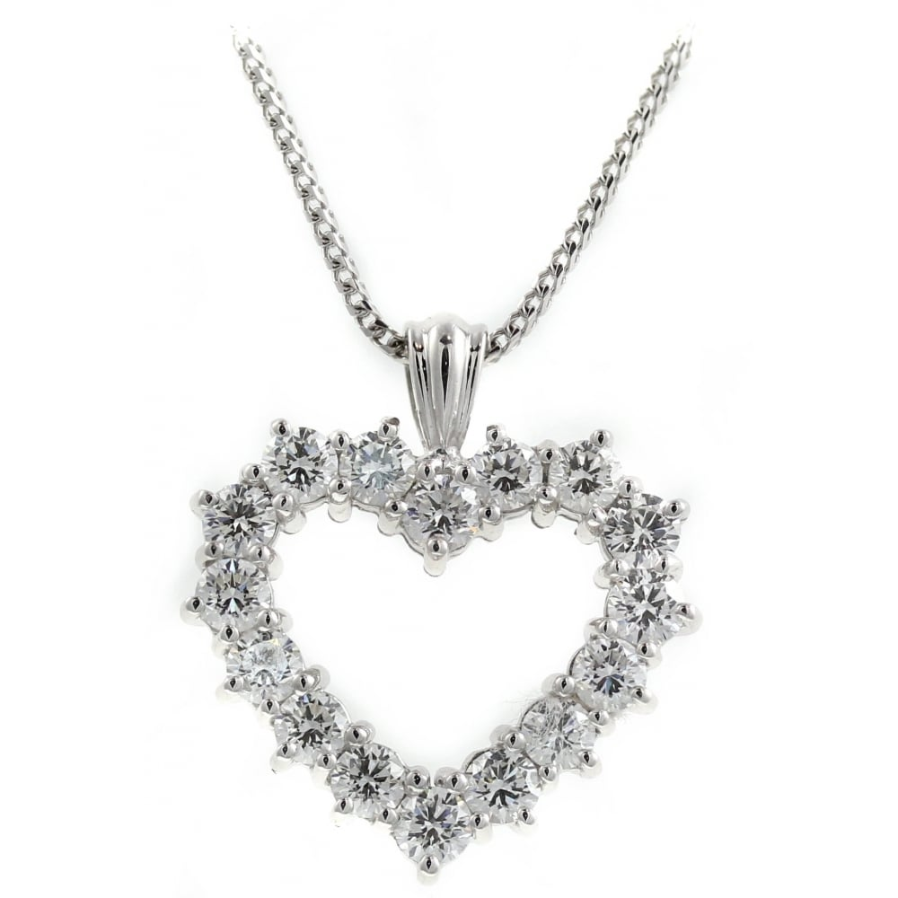834c0e8ff281 18ct white gold 2.00ct open heart shaped diamond pendant - Jewellery from  Mr Harold and Son UK