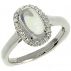 18ct white gold 2.05ct moonstone & 0.23ct diamond ring.
