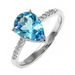 18ct white gold 2.08ct blue topaz & 0.11ct diamond ring.