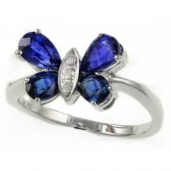 18ct white gold 2.09ct sapphire & 0.05ct diamond butterfly ring