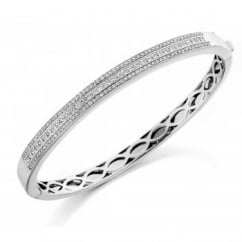 18ct white gold 2.10ct diamond triple row channel set bangle.