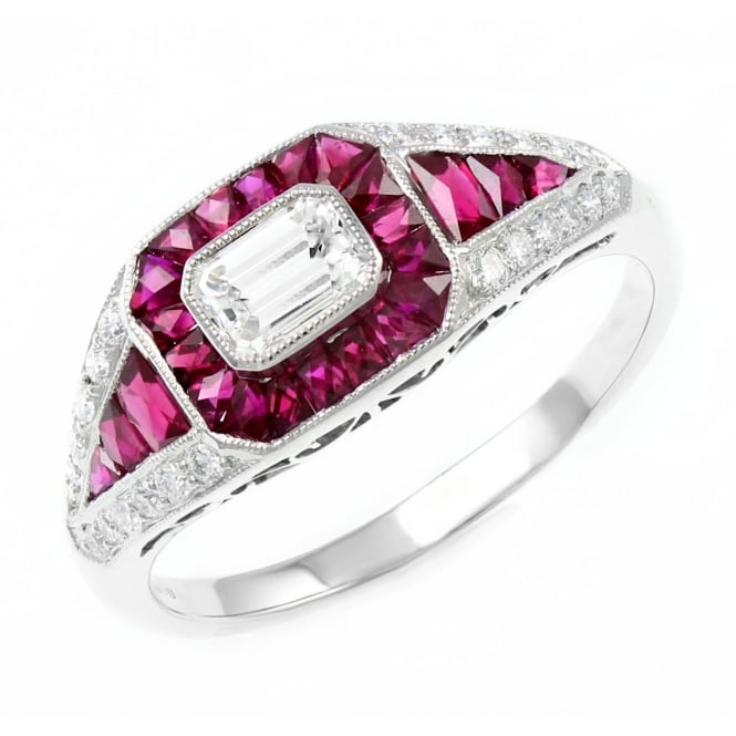18ct white gold 2.13ct ruby 0.50ct diamond Art Deco style ring.