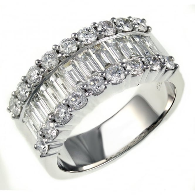 18ct white gold 2.14ct baguette & round diamond eternity ring.