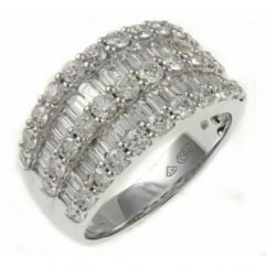 18ct white gold 2.14ct double baguette triple round diamond ring