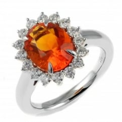 18ct white gold 2.19ct fire opal & 0.61ct diamond cluster ring.