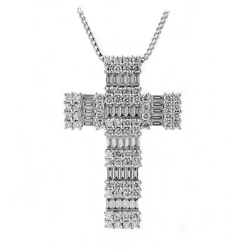 18ct white gold 221ct diamond cross pendant jewellery from mr 18ct white gold 221ct diamond cross pendant aloadofball Image collections