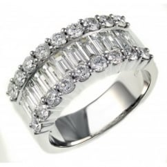 18ct white gold 2.22ct baguette & round diamond eternity ring.