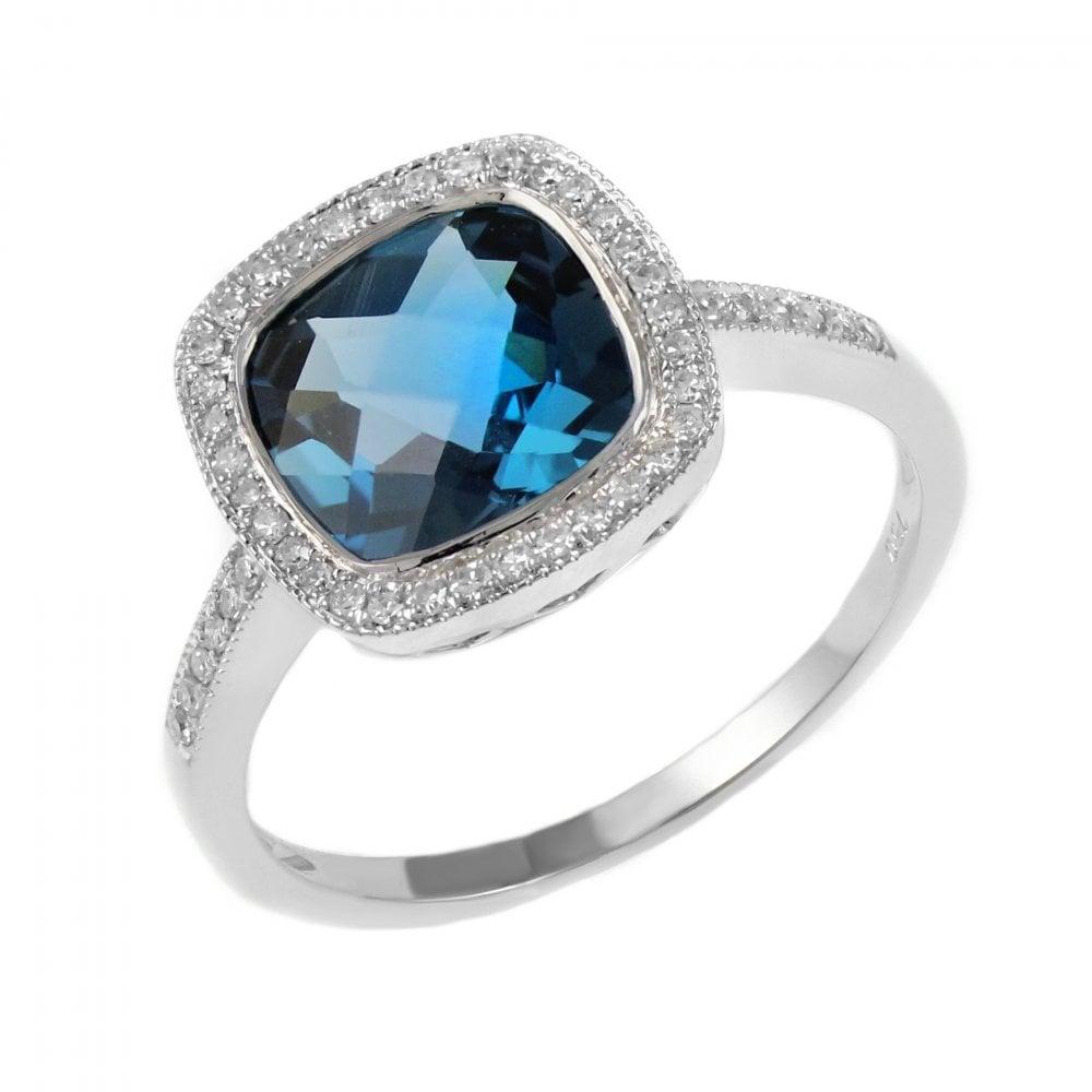 18ct White Gold 2 27ct London Blue Topaz Diamond Halo Ring