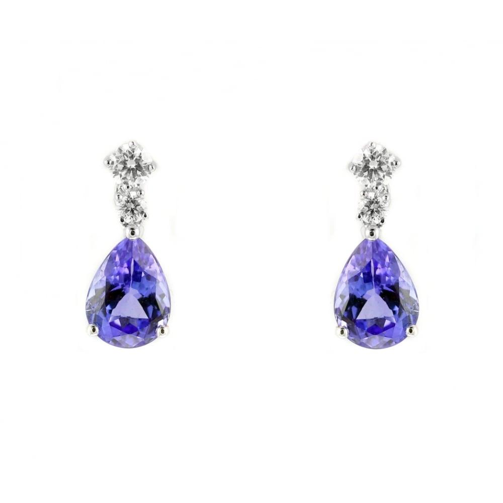 18ct White Gold 2 28ct Tanzanite 0 29ct Diamond Drop Earrings