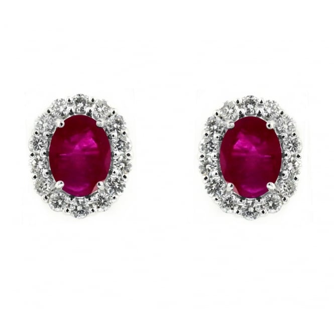 18ct white gold 2.30ct ruby & 0.52ct diamond stud earrings