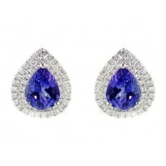 18ct white gold 2.40ct tanzanite 0.65ct diamond cluster earrings