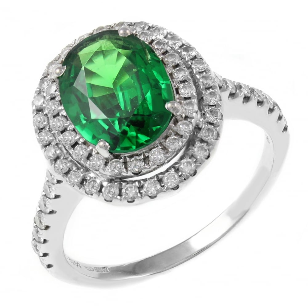 engagement palladium ring garnet with princess and rings puzzle tsavorite green wedding cut sets avalon gemstone