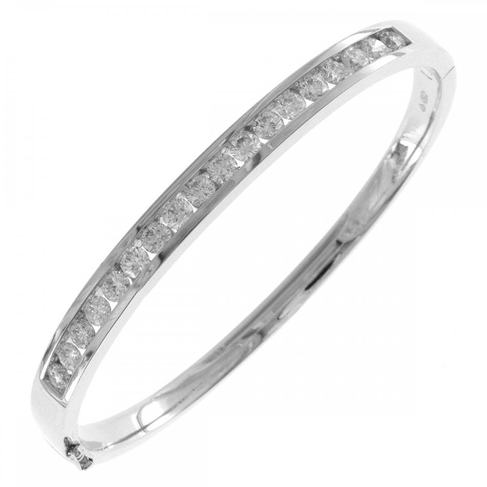 round white bangle diamond jewellery bangles gold cut brilliant image