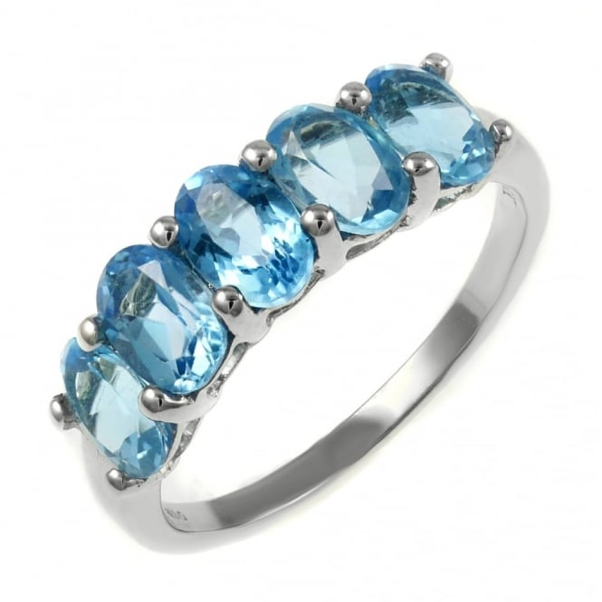 18ct white gold 2.80ct oval blue topaz 5 stone ring.