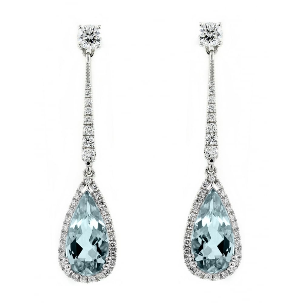 18ct White Gold 2 86ct Aquamarine 0 78ct Diamond Drop Earrings