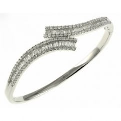 18ct white gold 2.88ct baguette & round diamond twist bangle.