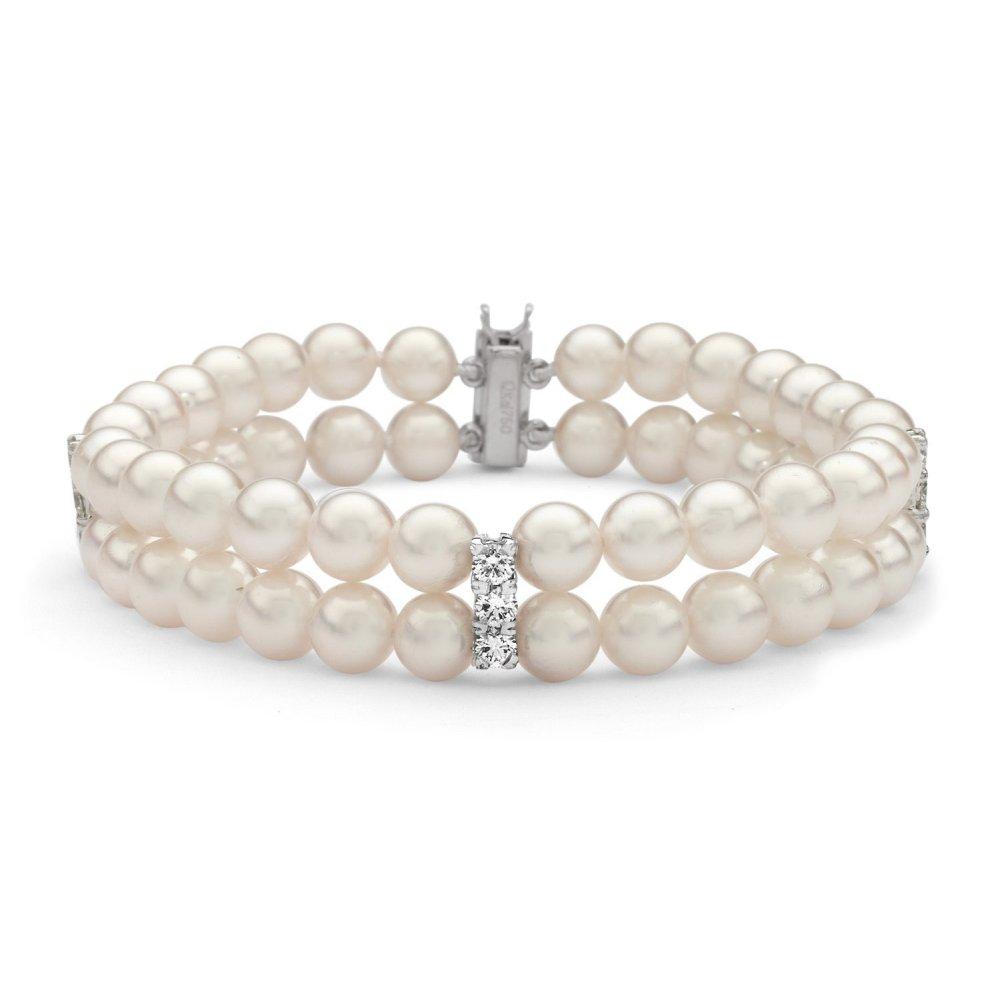8590758d2910e5 Matt Aminoff Pearls 18ct white gold 2 row Akoya pearl & 0.92ct ...