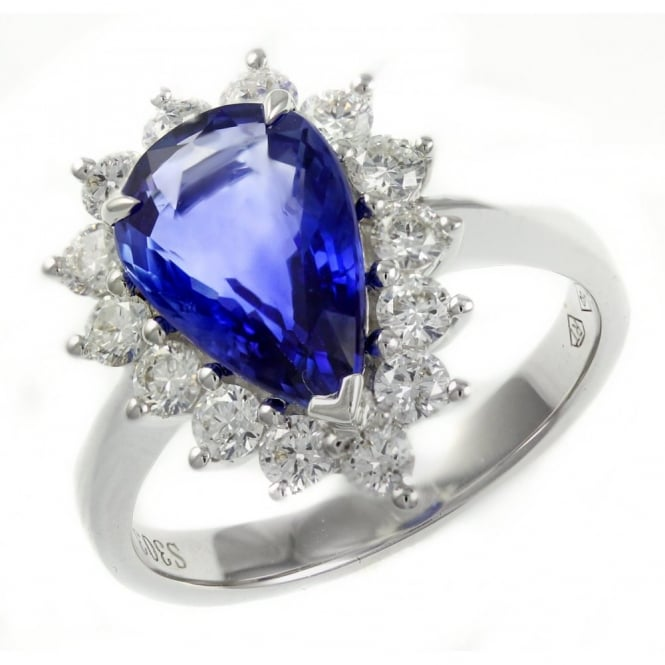 18ct white gold 3.03ct sapphire & 0.80ct diamond cluster ring.