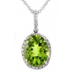 18ct white gold 3.05ct peridot & 0.18ct diamond pendant.