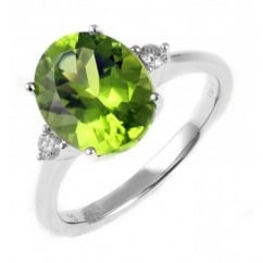 18ct white gold 3.64ct peridot & 0.10ct diamond ring.