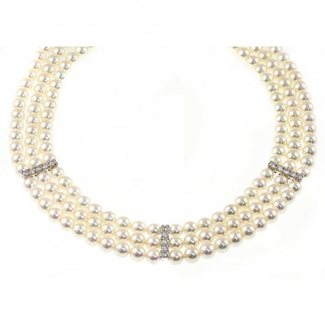Matt Aminoff Pearls 18ct white gold 3 strand pearl necklace with diamonds.