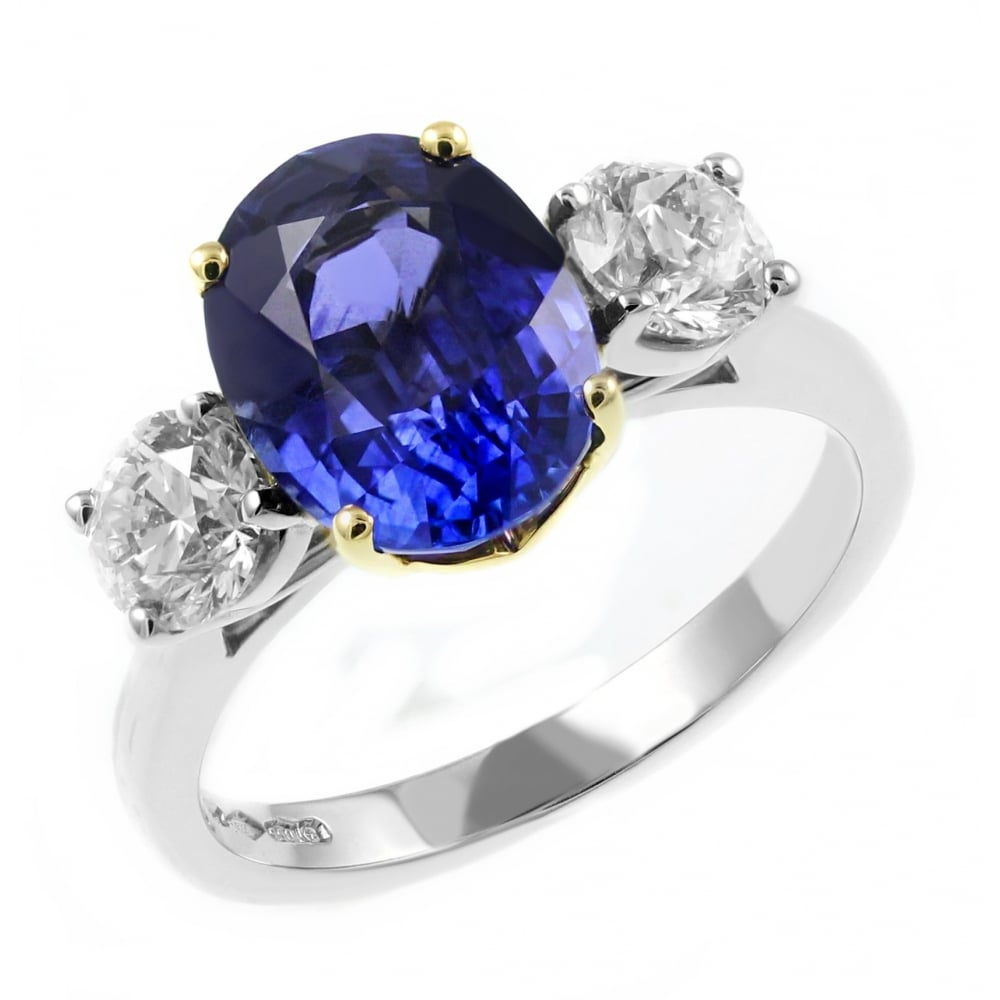 ring in gold carat diamond tw white sunburst ct sapphire