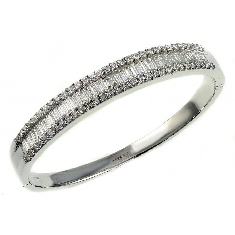 diamond bangles white gold c tw bracelet bangle