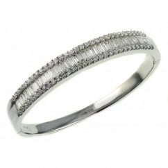 18ct white gold 4.19ct round & baguette diamond bangle.