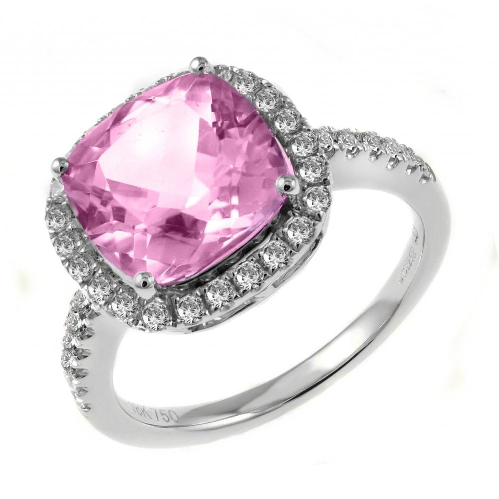 18ct white gold 4.29ct pink tourmaline & 0.55ct diamond ring ...