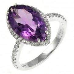 18ct white gold 4.44ct amethyst & 0.50ct diamond cluster ring.