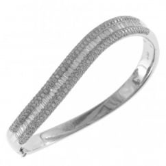 18ct white gold 4.44ct baguette round brilliant diamond bangle.