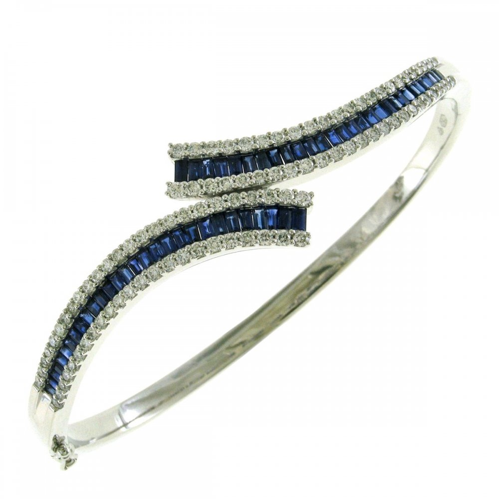 bangles bleu bracelet sapphirewhite diamond product royale lyst bangle and gold normal blue jewelry effy gallery with white diamonds sapphire