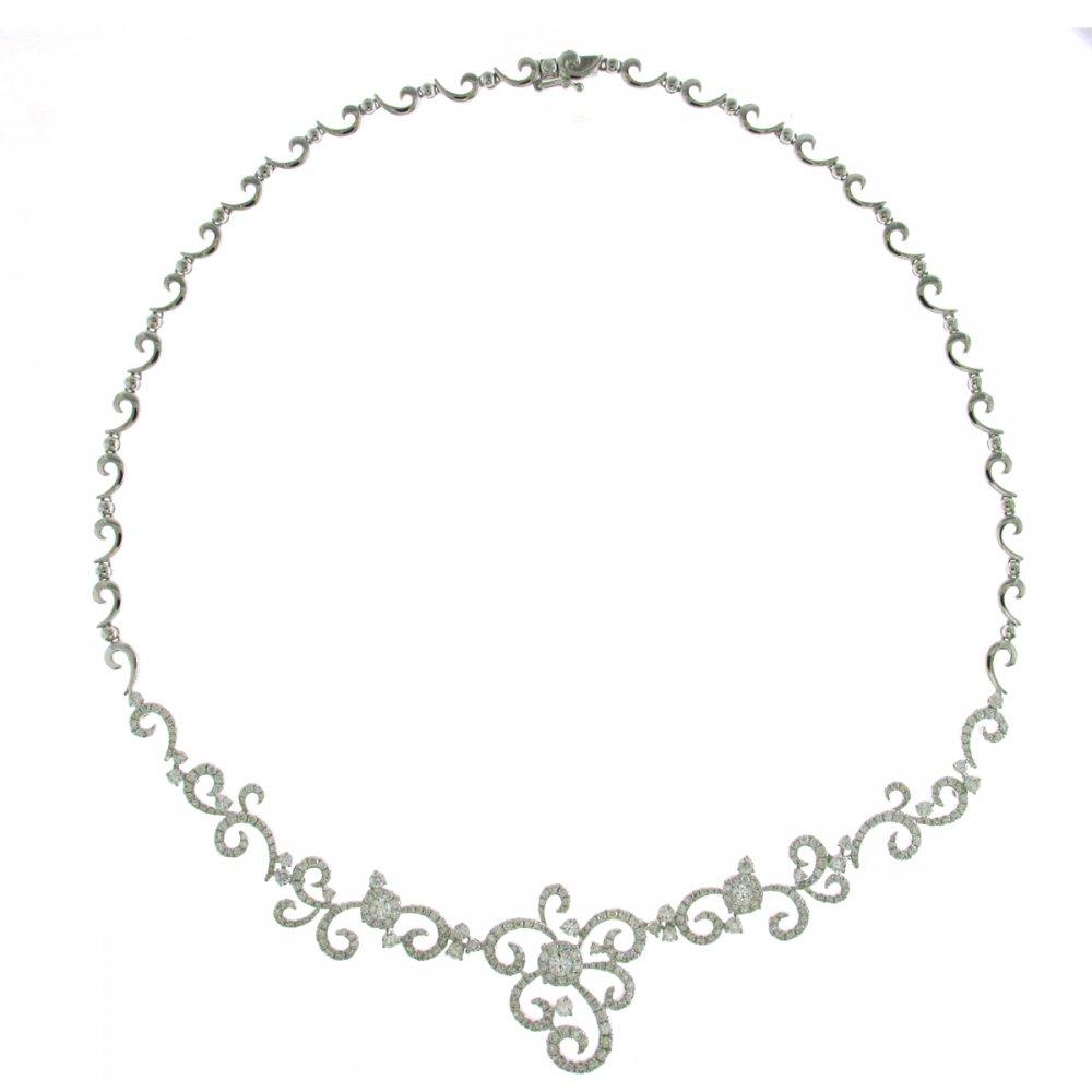 18ct white gold 4.69ct diamond swirl design necklace. - Jewellery ...
