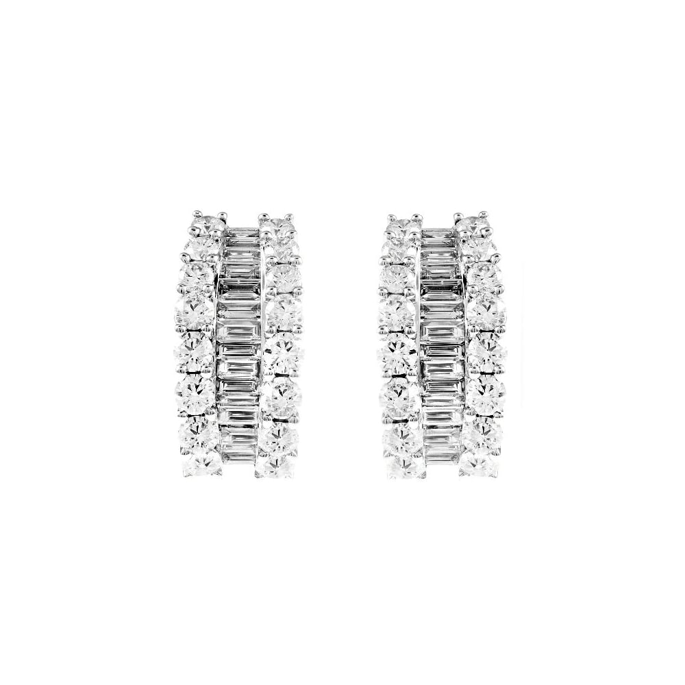 earring earrings white diamond baguette gold