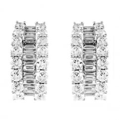 18ct white gold 5.32ct baguette & round diamond hoop earrings