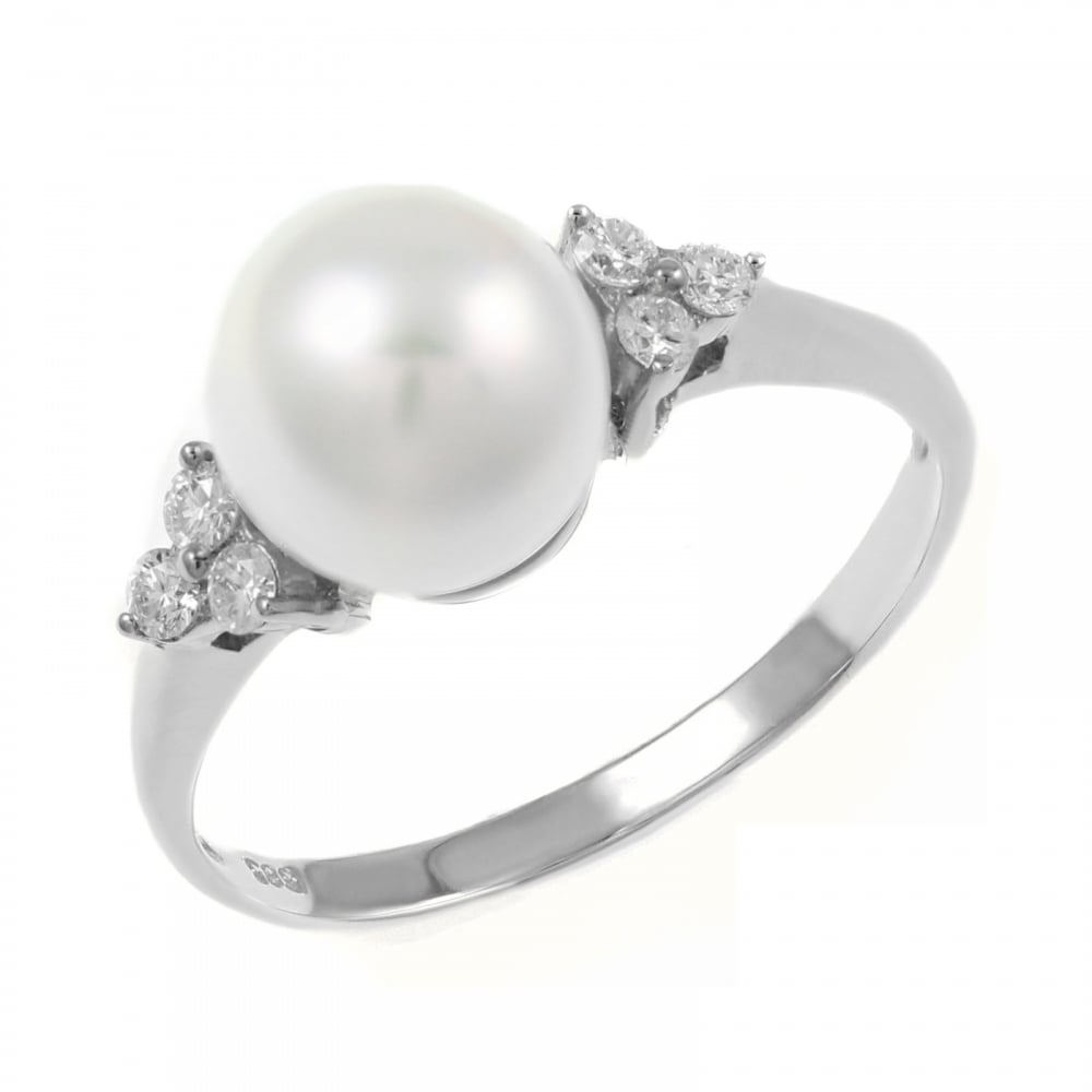 pearl ring with halo rings south ct sideview whitegold engagement gold white diamond sea cushion