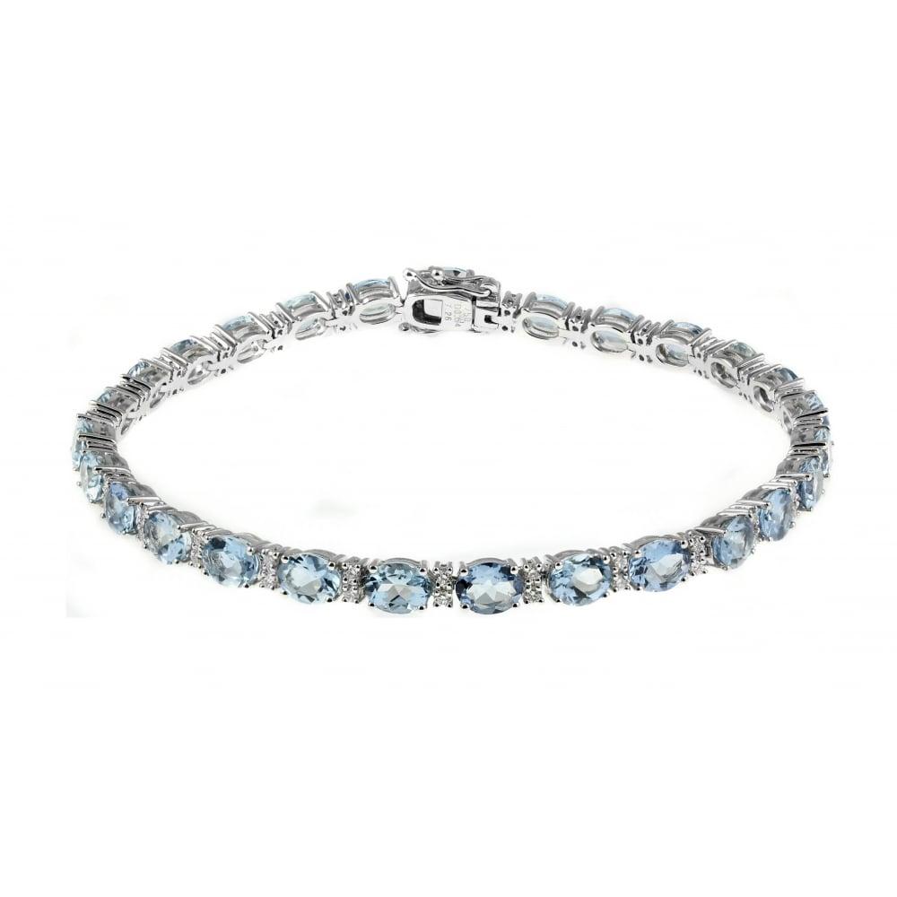 18ct White Gold 7 46ct Aquamarine 0 60ct Diamond Bracelet